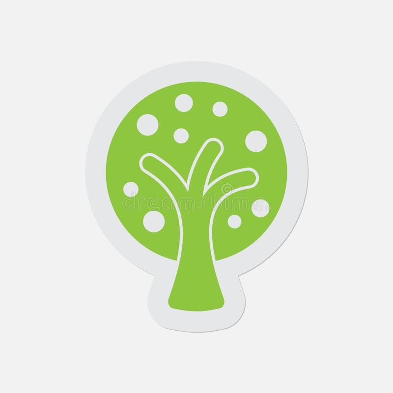 Prosta zielona ikona - stylizowany drzewo z owoc ilustracji