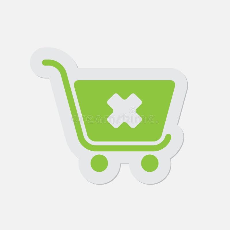 Prosta zielona ikona - wózek na zakupy odwoływa royalty ilustracja