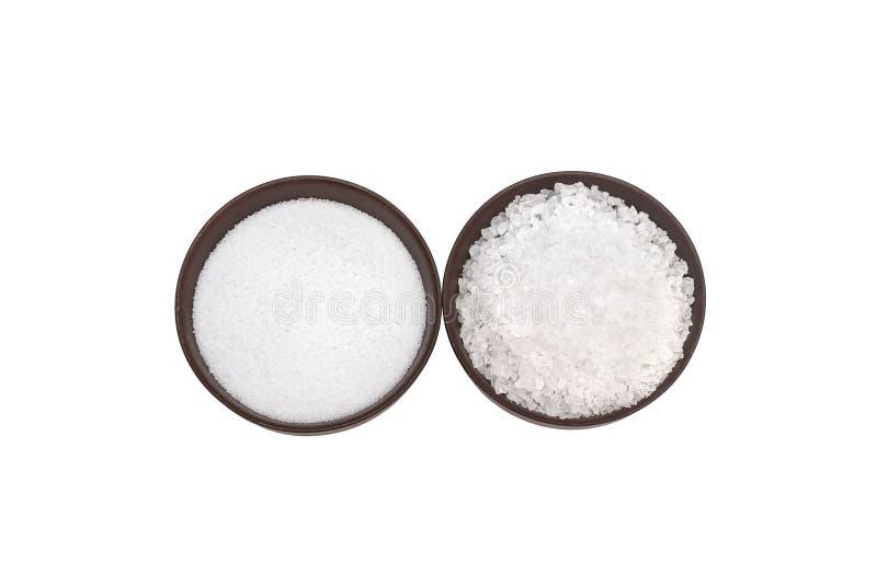 Prostacka i świetna solankowa białego morza sól na białym tle obraz stock