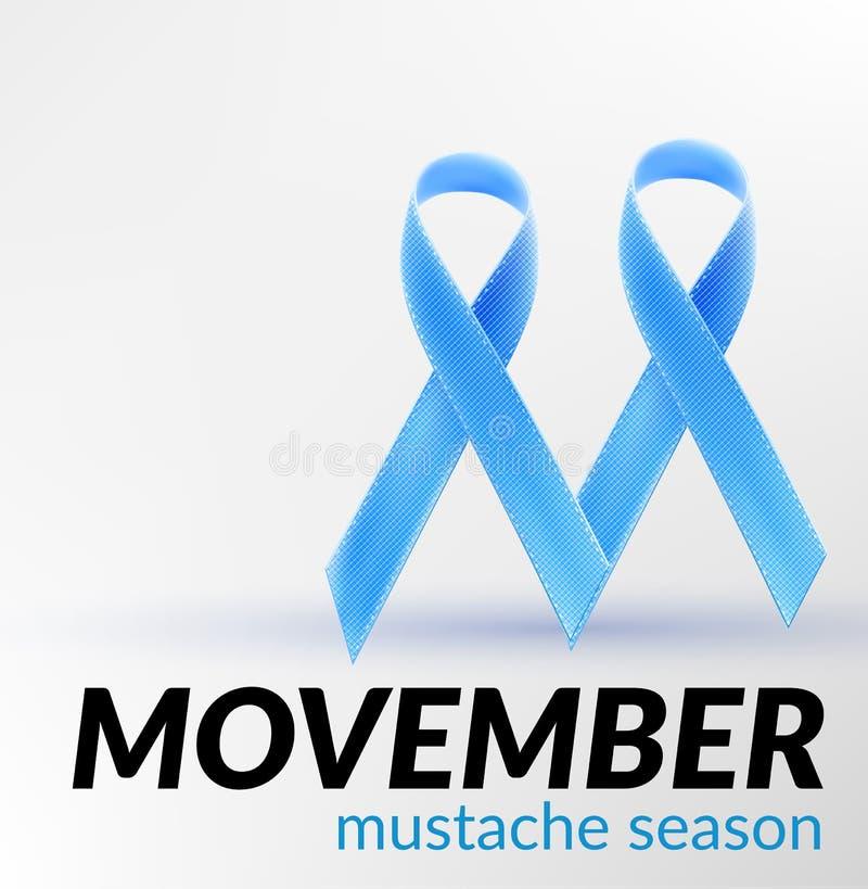 Prostate blauwe het lintmaand november van de kankervoorlichting voor de banner van de kaartaffiche voor movember, royalty-vrije illustratie