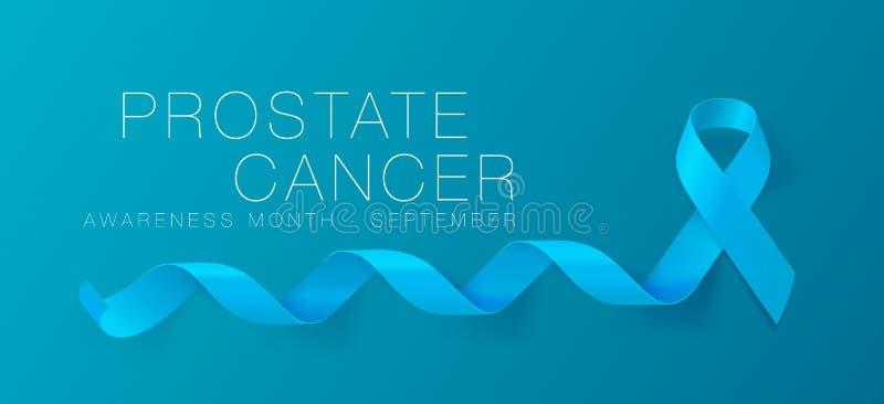 Prostate Cancer Awareness Calligraphy Poster Design. Realistic Light Blue Ribbon. September is Cancer Awareness Month. Vector. Illustration stock illustration