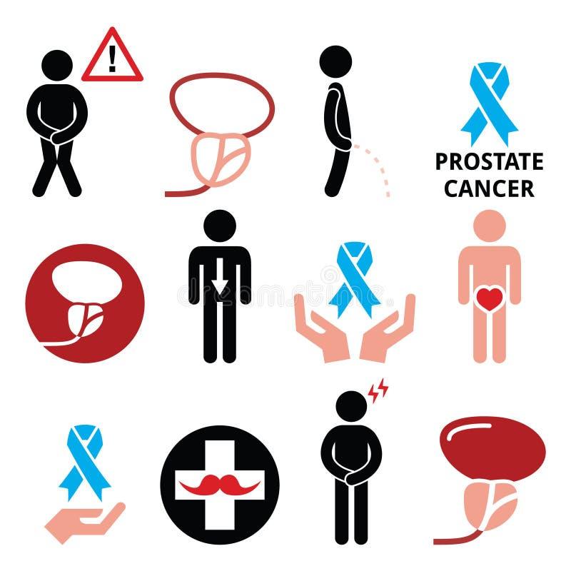 Prostate cancer awareness, men`s health icons set vector illustration