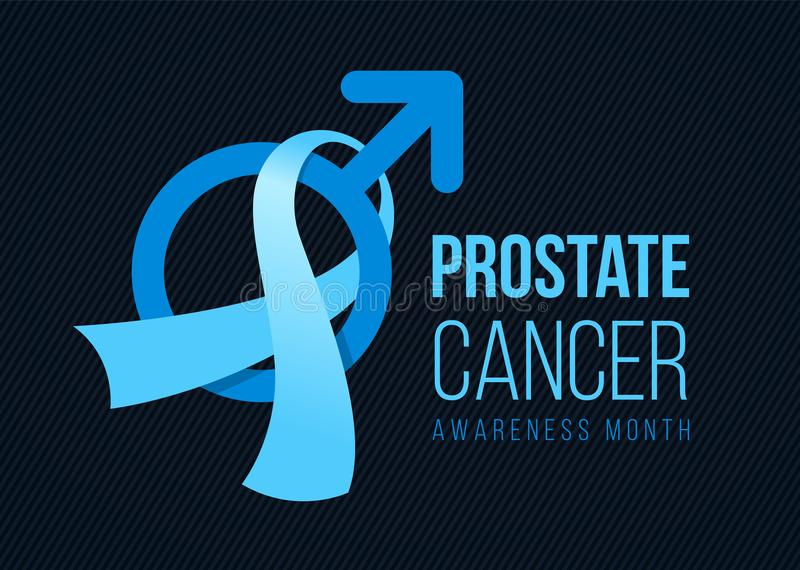 Prostate cancer Awareness month banner with blue light ribbon and male sign on dark background vector design royalty free illustration