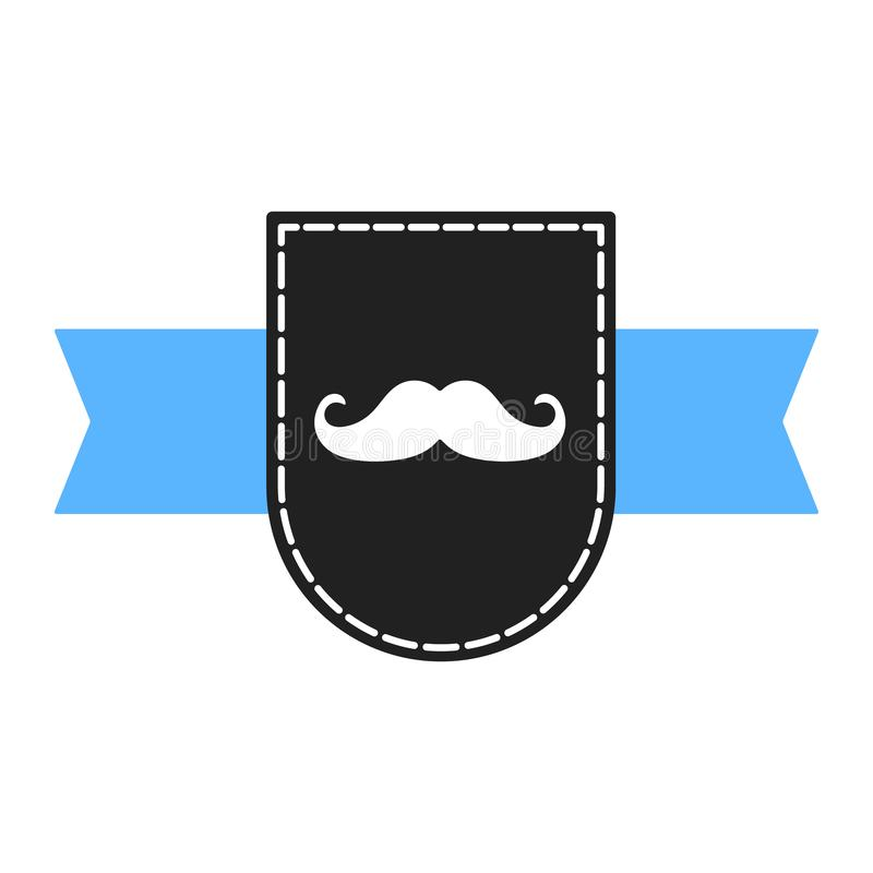 Prostate cancer awareness symbol information. Men support badge label. With blue ribbon, mustaches and badge pin flat style design vector illustration isolated vector illustration