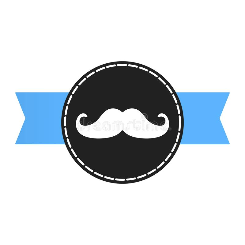 Prostate cancer awareness symbol information. Men support badge. Label with blue ribbon, mustaches and badge pin flat style design vector illustration isolated vector illustration