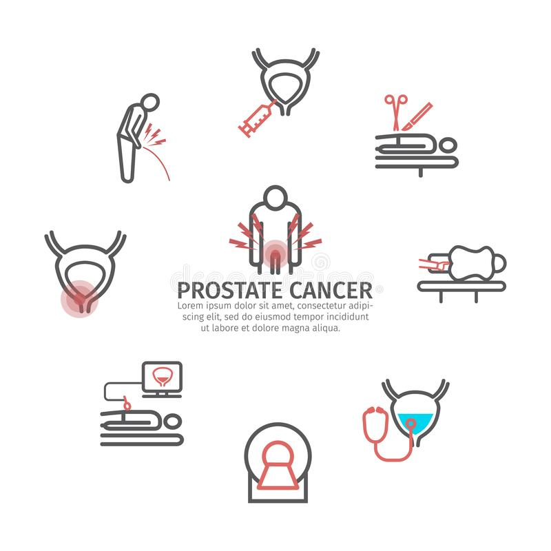 Prostate Cancer banner. Symptoms, Causes, Treatment. Vector signs for web graphics. Prostate Cancer. Symptoms, Causes, Treatment. Line icons set. Vector signs vector illustration