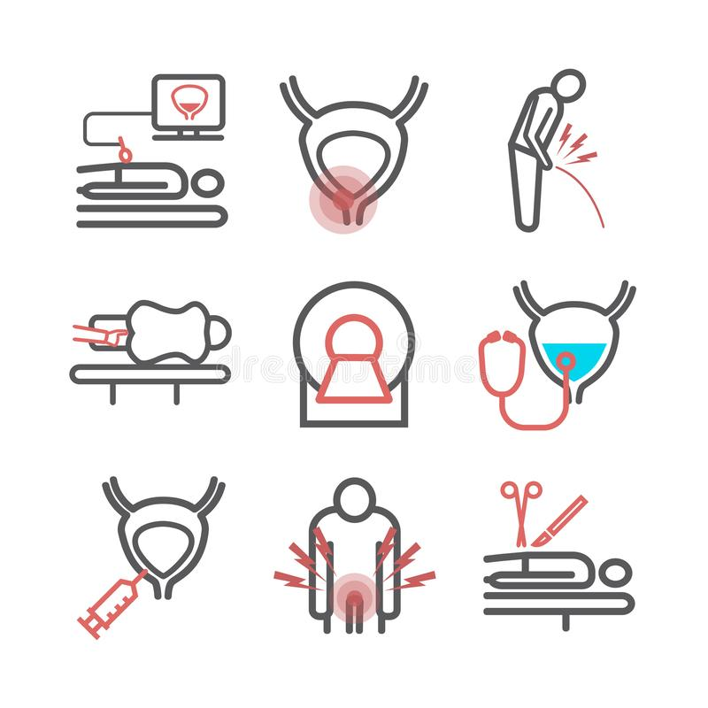 Prostate Cancer. Symptoms, Causes, Treatment. Vector signs for web graphics. Prostate Cancer. Symptoms, Causes, Treatment. Line icons set. Vector signs for web vector illustration