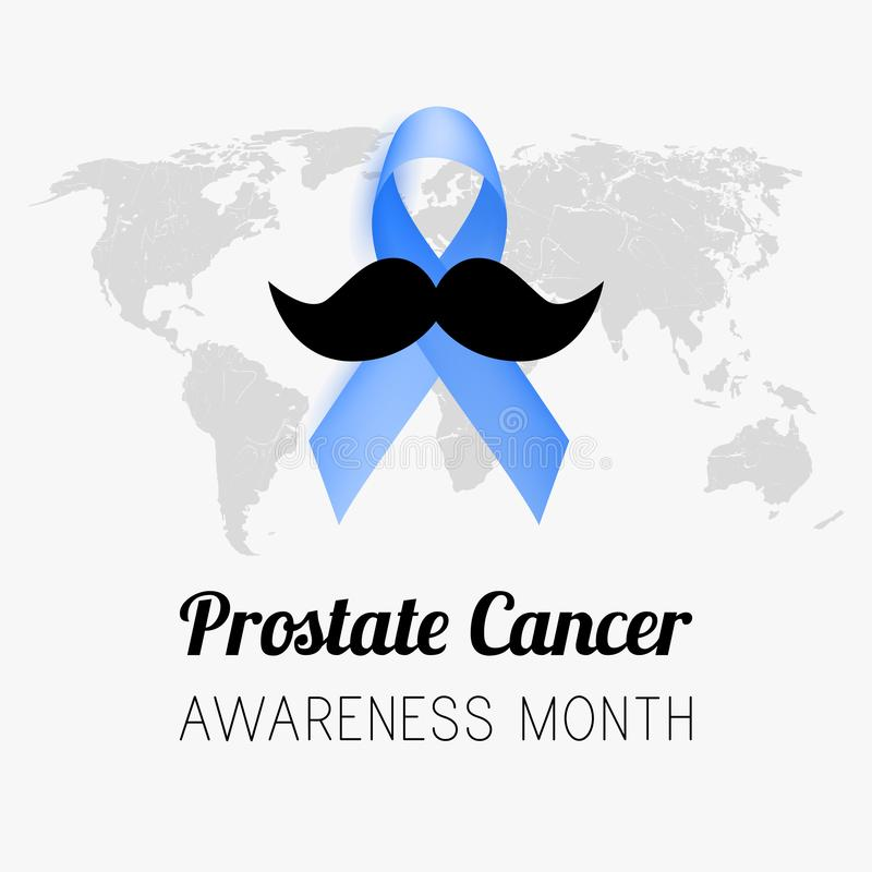 Prostate maand van de kankervoorlichting Blauw lint Vector stock illustratie