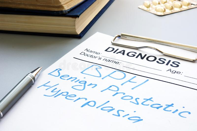 Prostate Uitbreiding of Goedaardige prostaathyperplasia van BPH stock foto