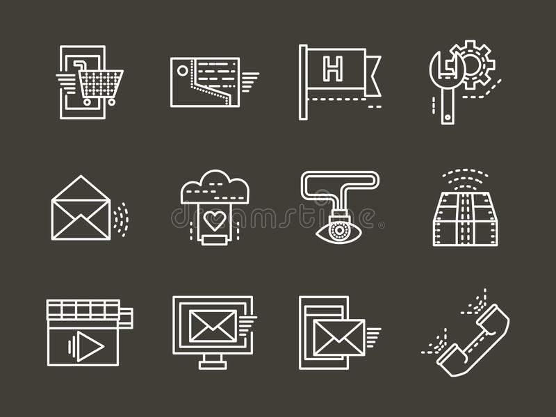 Proste białej linii poparcia online ikony ustawiać ilustracji