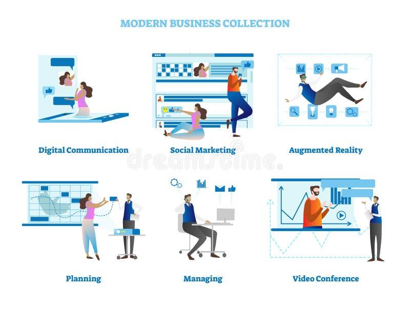 Proste biznesowe pojęcie sceny z biurowymi ludźmi charakterów debatują, błękitni projektów elementy, wektorowa ilustracyjna kolek royalty ilustracja