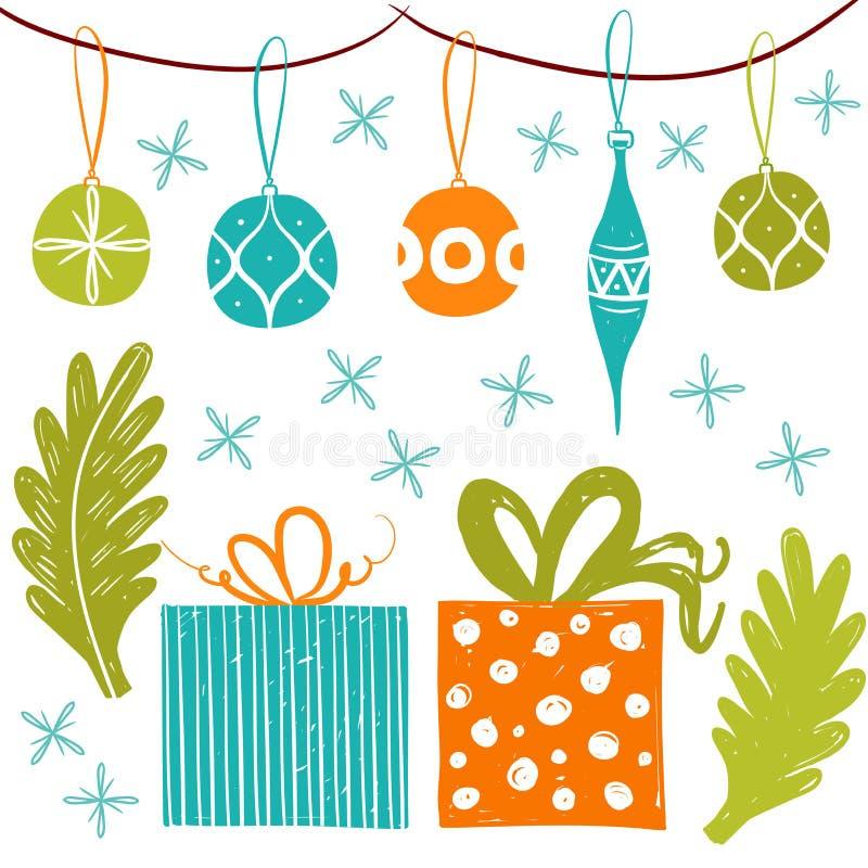 Proste boże narodzenie piłki i prezentów pudełka dla wakacyjnych świętowań Skandynawskiego Północnego stylu Boże Narodzenia, nowy