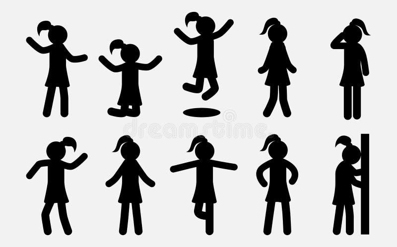 Proste dziewczyn sylwetki ustawiać Kobieta w różnych pozach i akcjach Żeńskie Żeńskie ikony ilustracja wektor