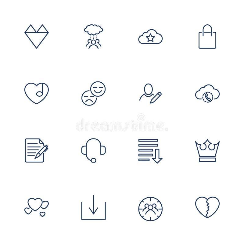 Proste ikony dla app, program?w i miejsc, ustawia? r??ne ikony royalty ilustracja