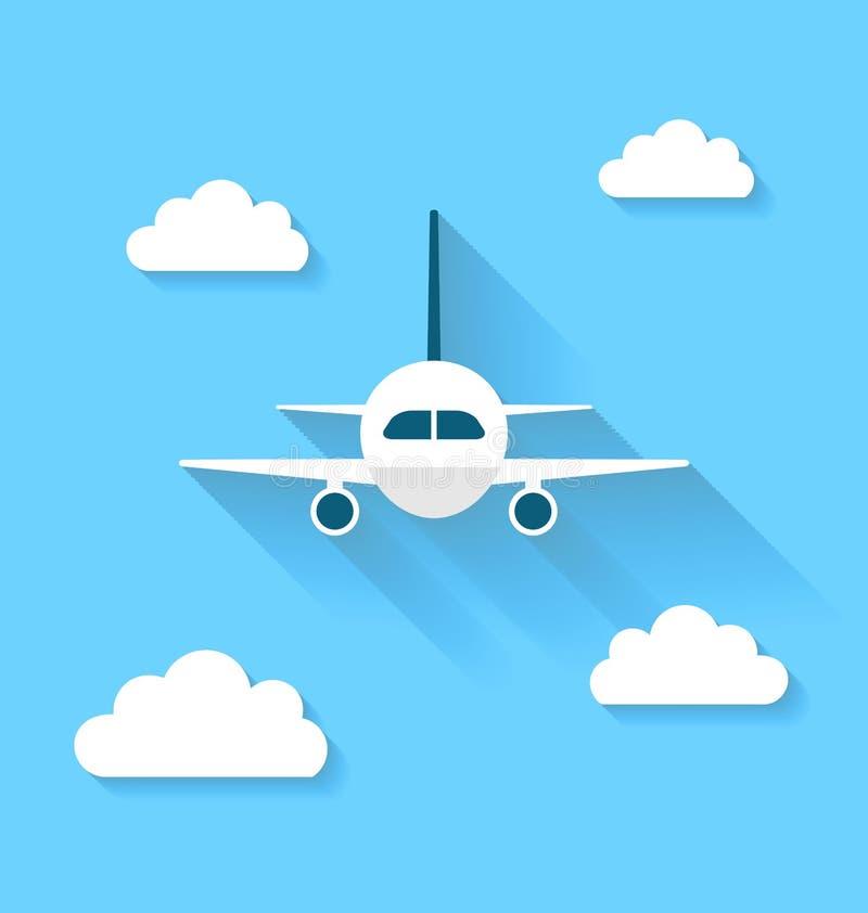 Proste ikony samolot i chmury z długimi cieniami, nowożytny mieszkanie royalty ilustracja