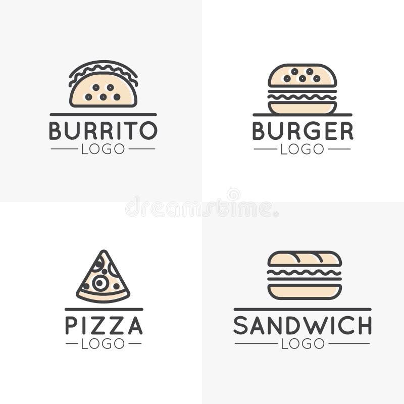 Proste kreskówka fasta food rzeczy, hot dog, opakunek, pizza, Burrito i kanapka, hamburger royalty ilustracja