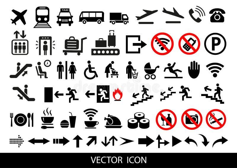 Proste lotniskowe ikony ustawiać Ogólnoludzkie lotniskowe ikony używać dla sieci UI i wiszącej ozdoby, set podstawowi UI lotniska ilustracja wektor