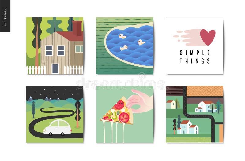 proste rzeczy - pocztówki ilustracji