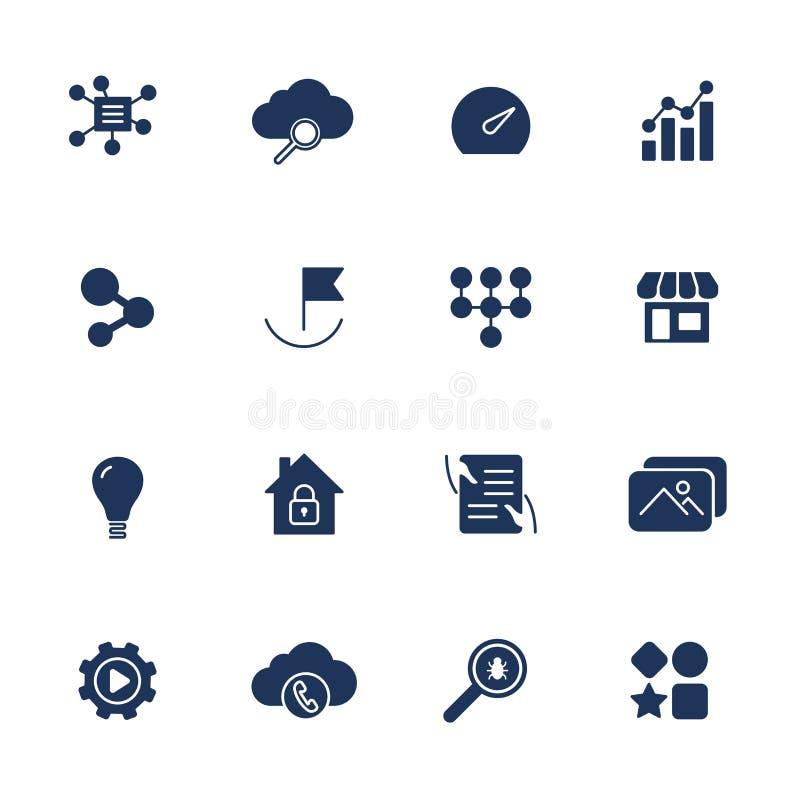 Proste UI ikony dla app, miejsca, programy R??ne UI ikony Pro?ci piktogramy na bia?ym tle royalty ilustracja
