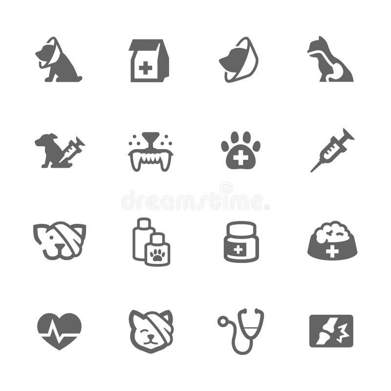 Proste zwierzę domowe weterynarza ikony ilustracja wektor