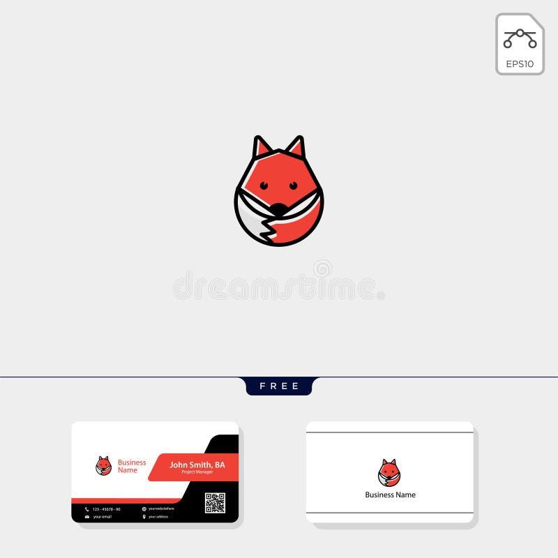 prostego ślicznego lisa logo szablonu wektorowa ilustracja, bezpłatny wizytówka projekta szablon ilustracji