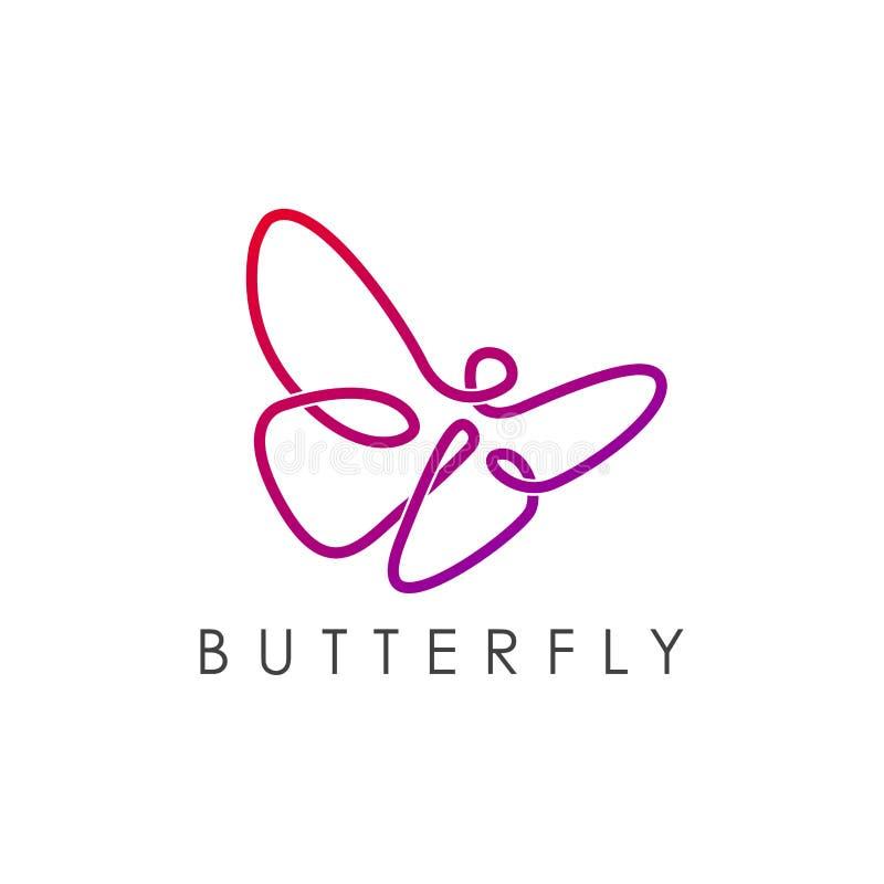 Prostego eleganckiego monoline logo motyli projekt royalty ilustracja