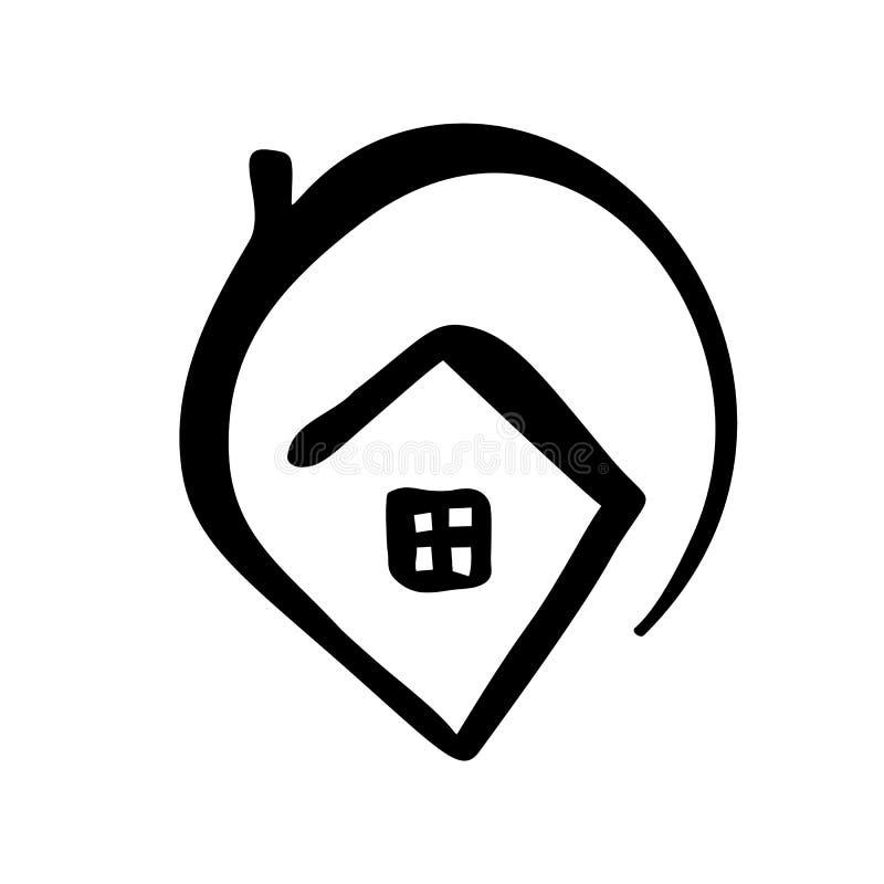 Prostego kaligrafia domu Istna Wektorowa ikona Nieruchomości architektury budowa dla projekta Domowa ręka rysujący rocznika logo  royalty ilustracja