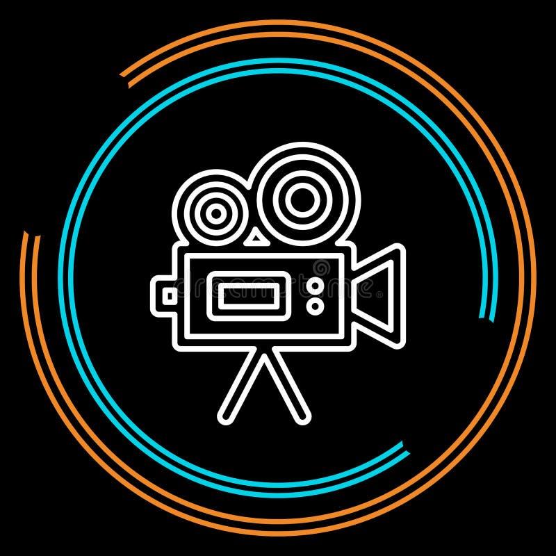 Prostego kamera wideo Cienka Kreskowa Wektorowa ikona ilustracja wektor