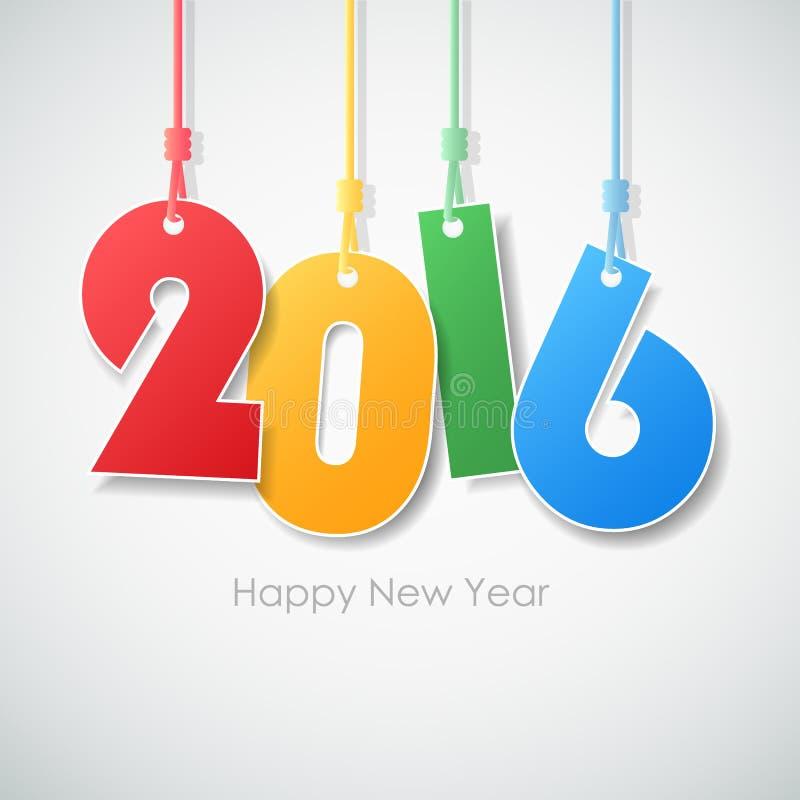 Prostego kartka z pozdrowieniami szczęśliwy nowy rok 2016 ilustracji
