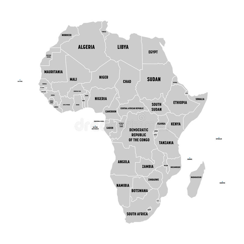 Prostego mieszkania popielata mapa Afryka kontynent z granicami kraju i kraju imienia etykietkami na białym tle wektor ilustracja wektor