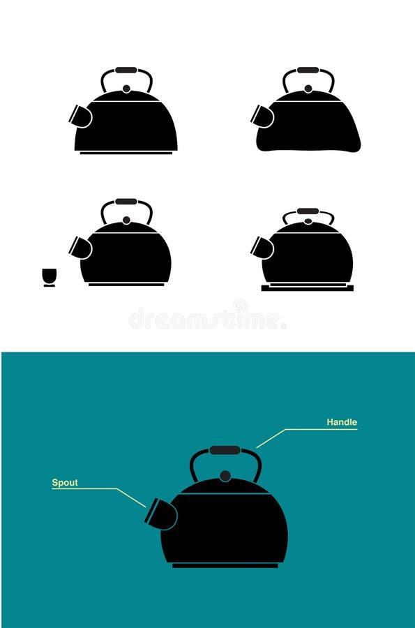 Prostego minimalnego teapot sylwetki ustalony wektor obrazy royalty free