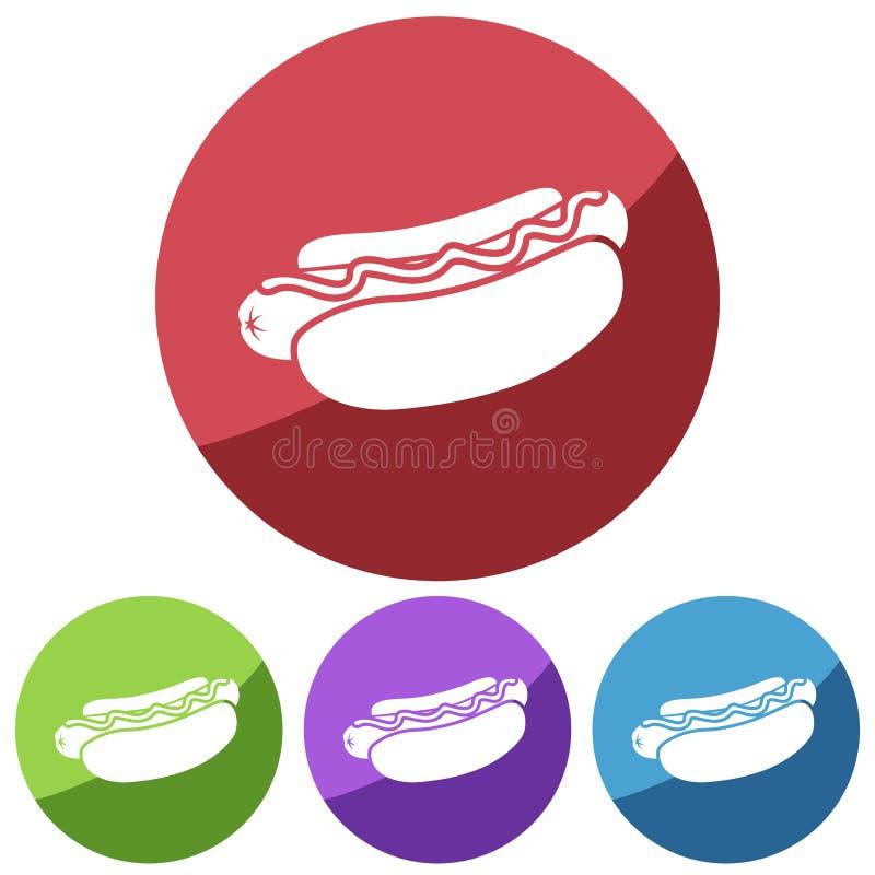 Prostego, płaskiego, kółkowego hot dog sylwetki biała ikona, Cztery kolor różnicy royalty ilustracja
