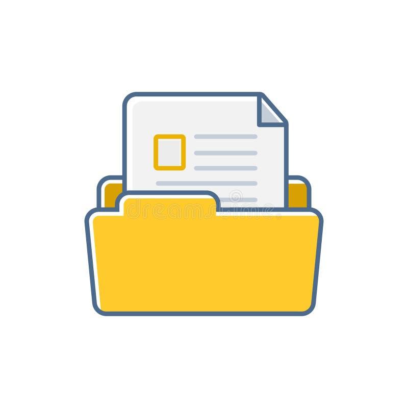 Prostego Płaskiego minimalistycznego biuro papieru ikony skoroszytowa ilustracja ilustracji