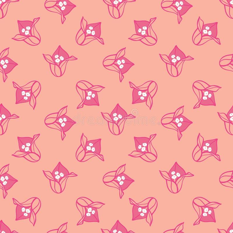 Prostego różowego kwitnącego bougainvillea kwiatu lata wektoru kwiecisty bezszwowy wzór dla tkaniny, tapeta, scrapbooking ilustracja wektor