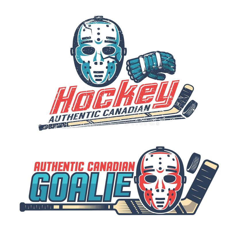 Prostego rocznika hokejowi emblematy z klasyczną bramkarz maską royalty ilustracja