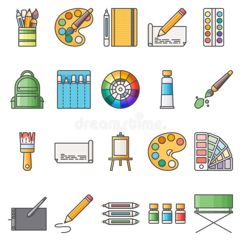 Prostego Ustalonego ofArtystyczne Wektorowe Płaskie ikony Zawiera suchIconsjako paleta, akwarele, artystyczni narzędzia, sz royalty ilustracja