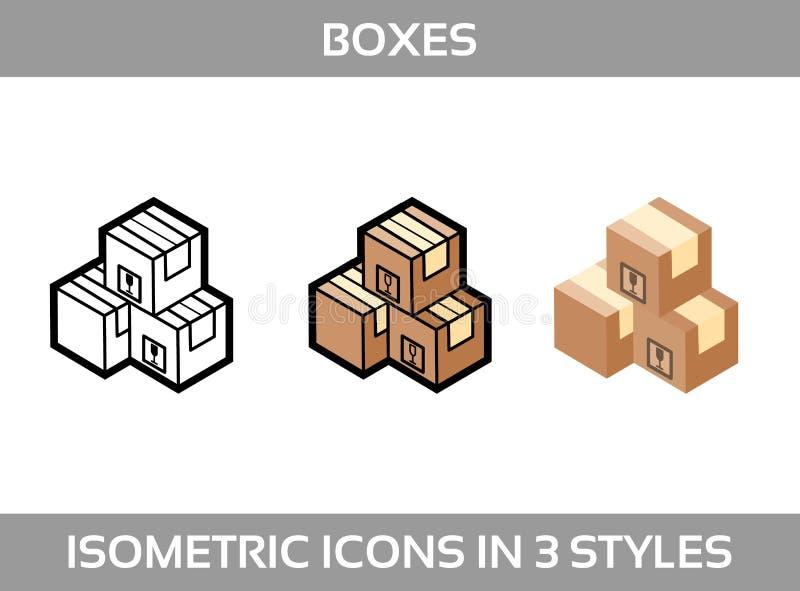 Prostego Ustalonego ofIsometric pakować boksuje Wektorowe 3Dikony Kolor isometric ikony w trzy stylach 3d boksuje karton wytw ilustracja wektor