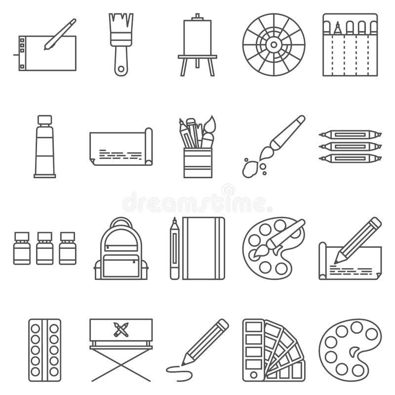 Prostego Ustalonego ofLineArtystyczne Wektorowe ikony Zawiera suchIconsjako paleta, akwarele, artystyczni narzędzia, szta ilustracja wektor