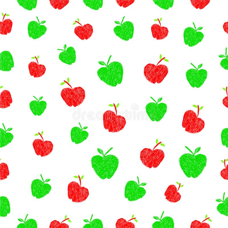 Prostego Wektorowego ręka remisu nakreślenia zieleni i czerwieni jabłka Bezszwowy wzór dla, ilustracja wektor