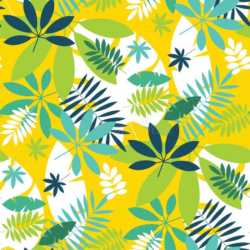 Prostego zielonego tropikalnego liścia projekta bezszwowy wzór ilustracja wektor
