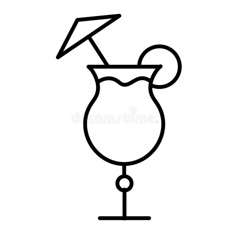 Prostej abstrakcjonistycznej czarny i biały ikony alkoholiczny koktajl w szkle z wapnem i przestrzeń na białym tle parasola i kop royalty ilustracja