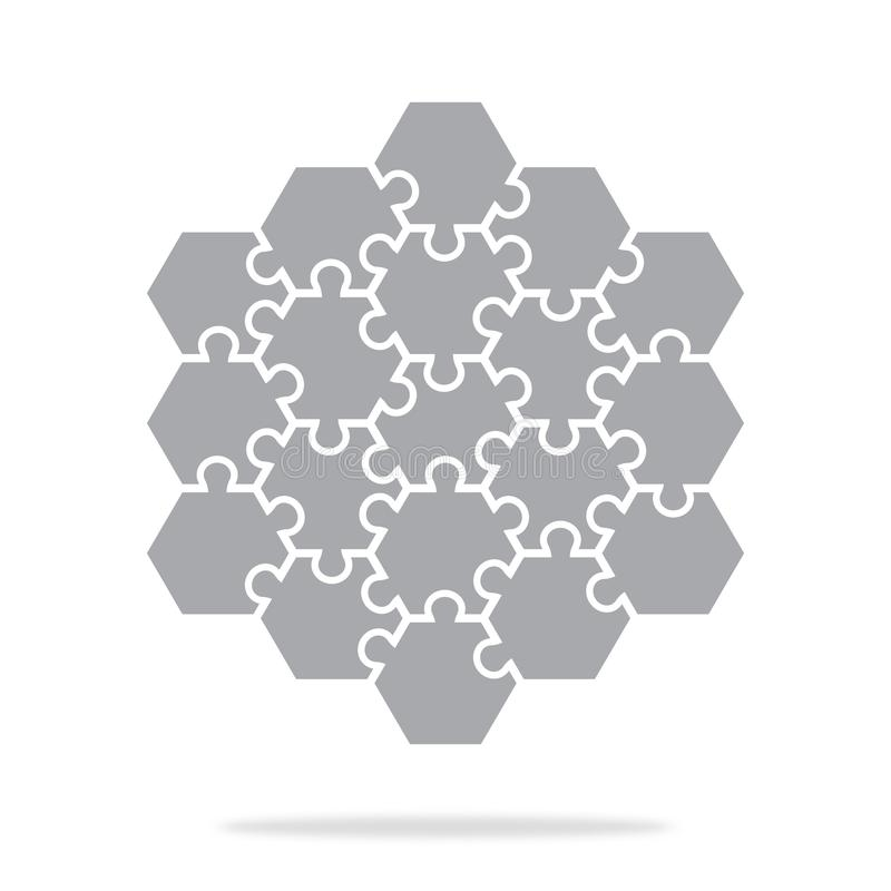 Prostej ikony heksagonalne łamigłówki w szarość Prosta ikony łamigłówka dziewiętnaście elementów royalty ilustracja