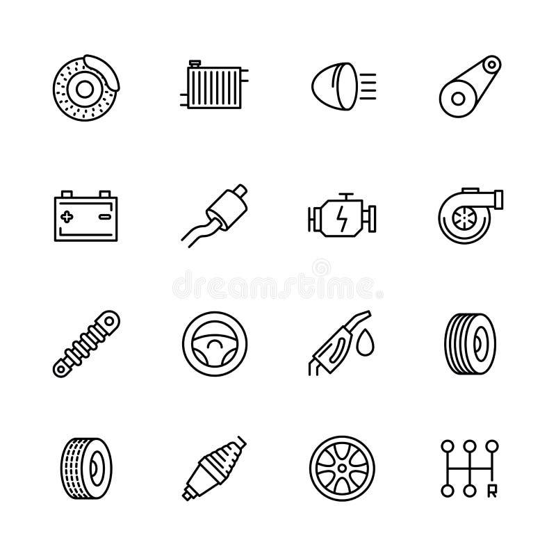 Prostej ikony samochodu ustalona naprawa i utrzymanie Zawiera taki symbol części silnik, grzejnik, hamulce, bateria, muffler royalty ilustracja