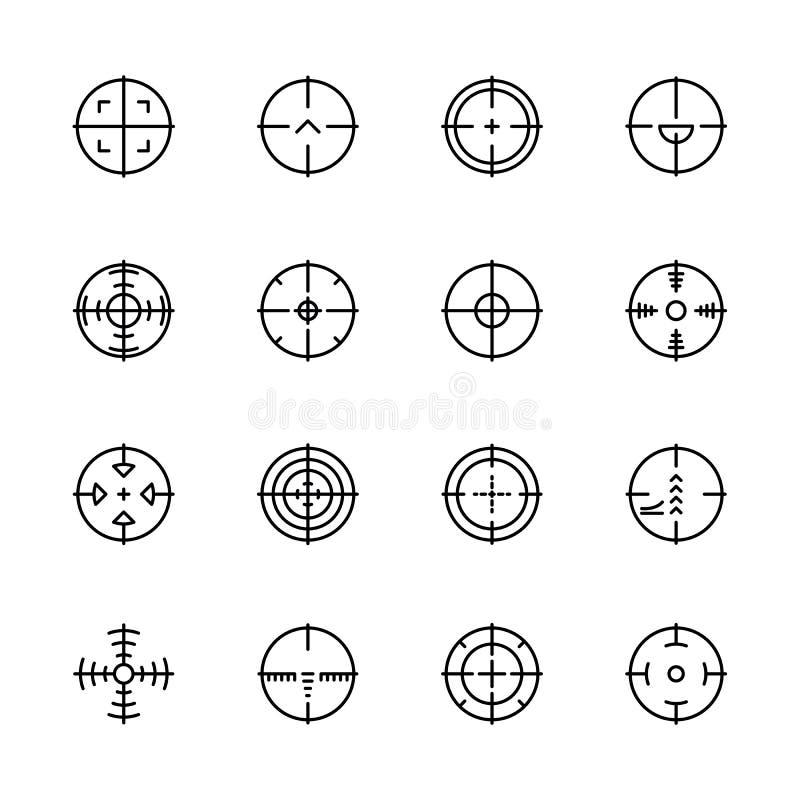 Prostej ikony ustalony cel, cel dla strzelać na pole bitwy i Zawiera taki symbol celownicze snajperskie bronie ilustracji
