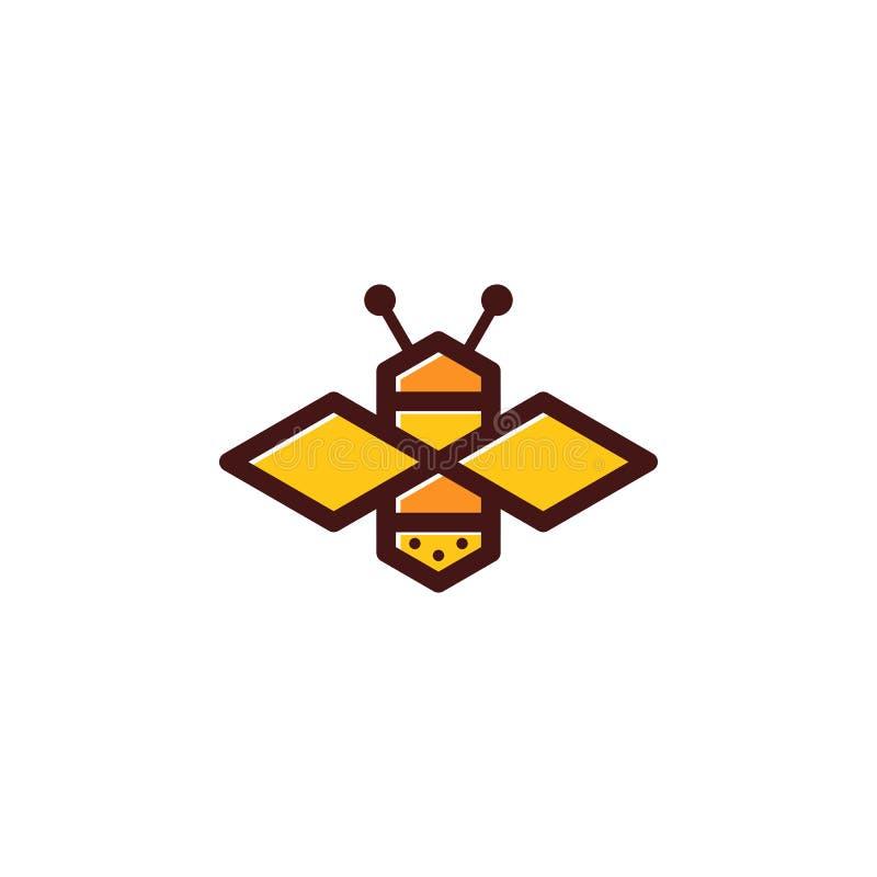 Prostej pszczoły barwiony logo ilustracja wektor