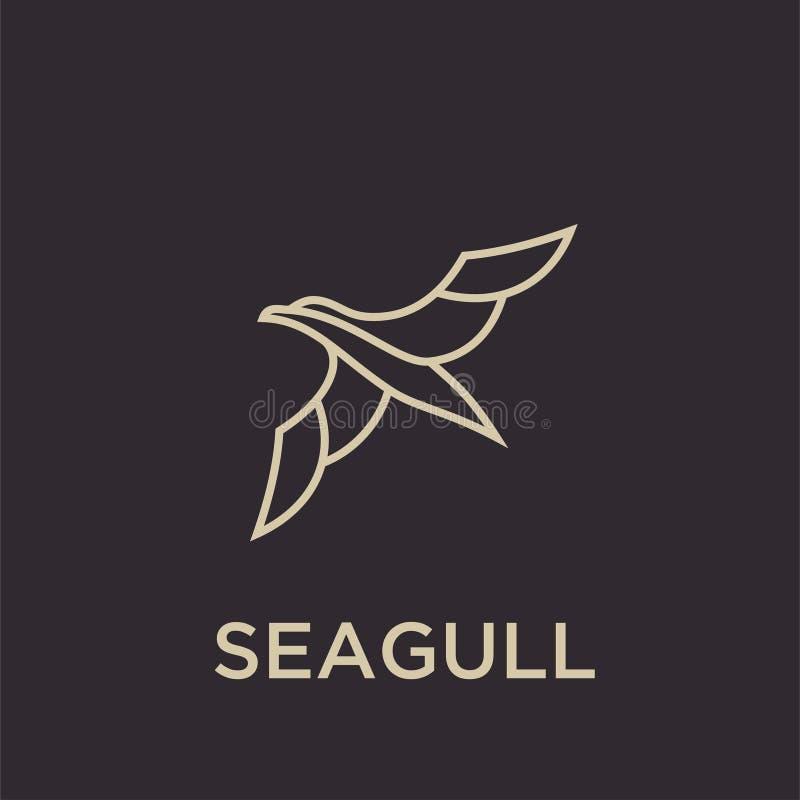 Prostej seagull logo czerni konturu linii sylwetki logo ustalona ikona projektuje wektor dla logo ikony znaczka ilustracja wektor