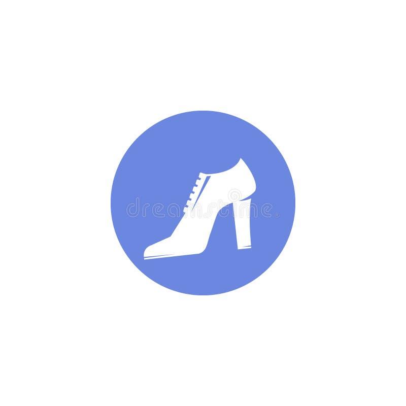 Prostej wektorowej płaskiej sztuki round ikona kobieta buty ilustracja wektor