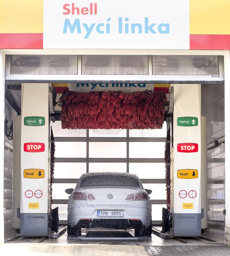 Prostejov Czech rep 25th April, Shell car wash, car wash foam water, Automatic car wash in action stock image