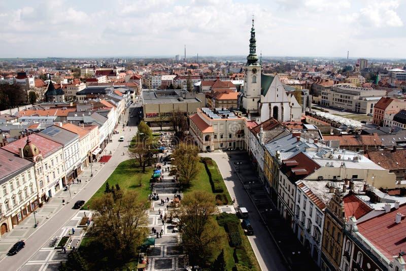 Prostejov dalla torre del municipio, repubblica Ceca immagine stock