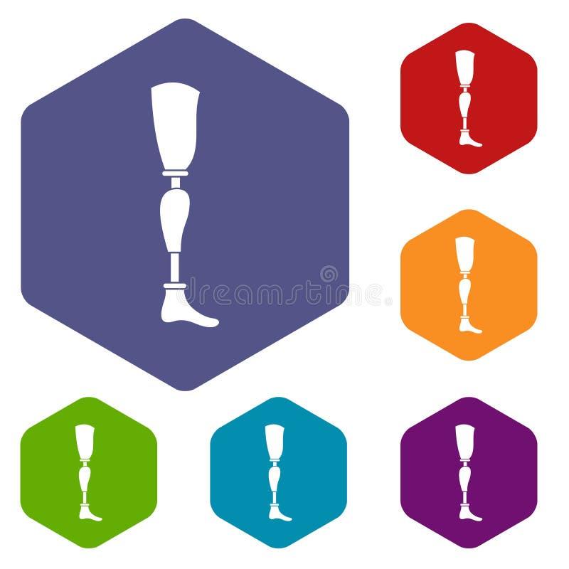 Prosthesis leg icons set hexagon. Isolated vector illustration stock illustration